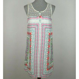 Entro Ivory Floral Crochet Lace Tank Sun Dress